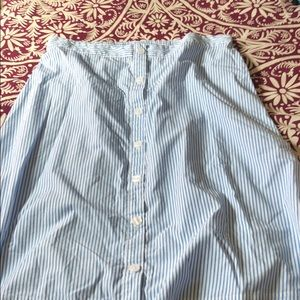A New Day Blue White Pin Striped Button Down Skirt